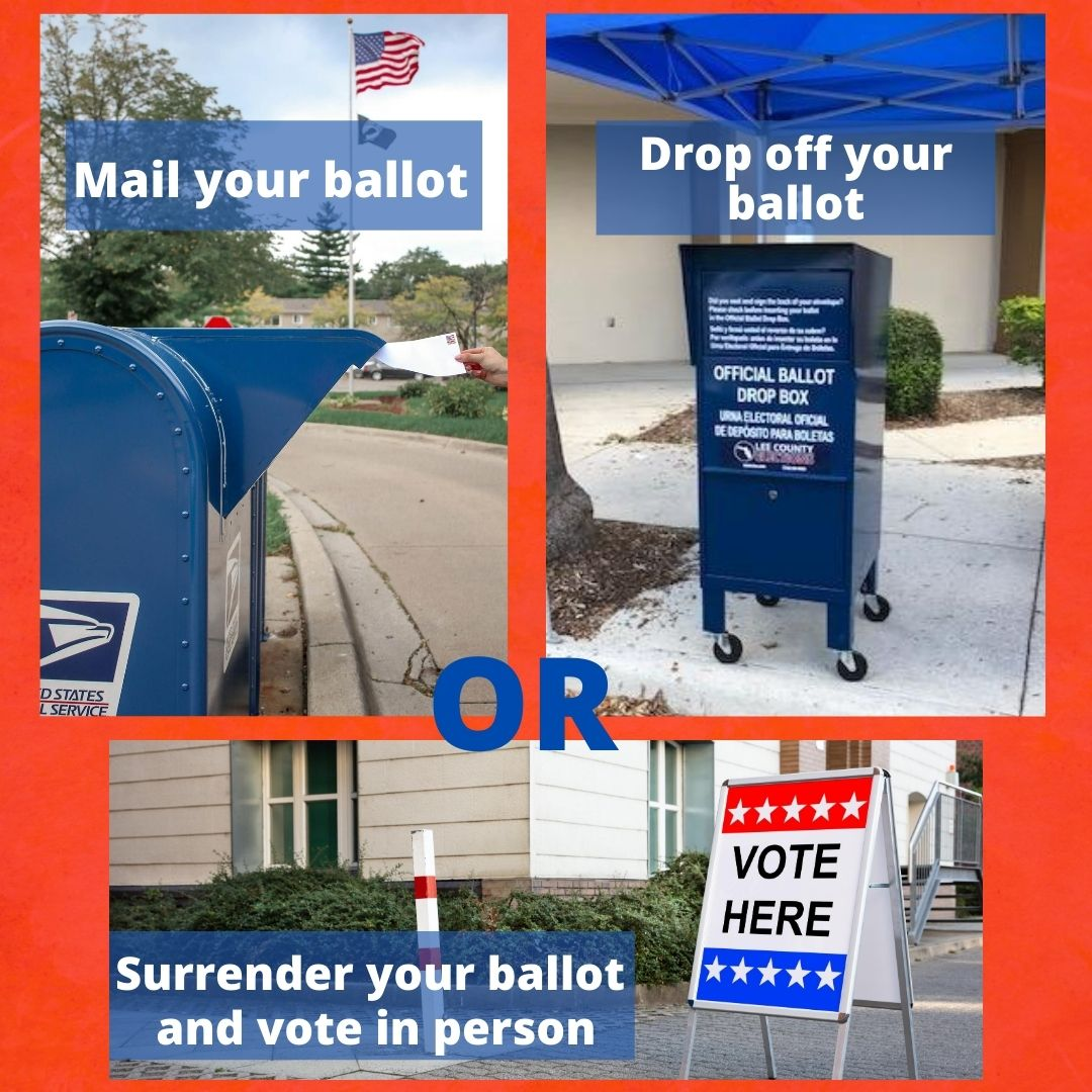 How to turn in your ballot: Mail, Drop Off, or Surrender.